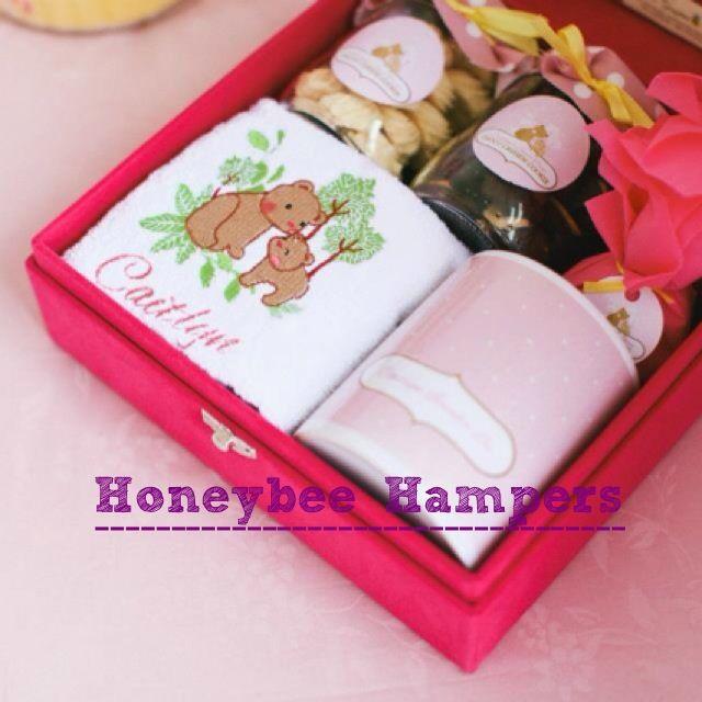 Fuschia velvet box for baby caitlyn's hamper