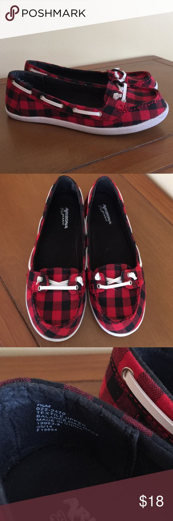 Cute Buffalo Plaid Boat Shoes Black and red buffalo plaid pattern fabric, white leather ties, 1/2 in white heel. Love these!! Arizona Jean Company Shoes Flats & Loafers