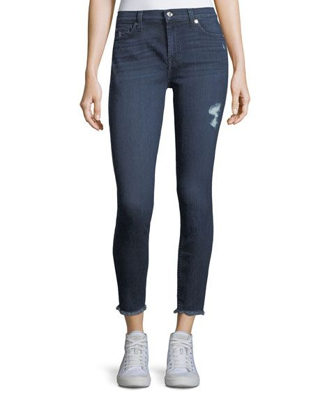 7 FOR ALL MANKIND Gwenevere Raw-Edge Ankle Jeans, Blue. #7forallmankind #cloth #