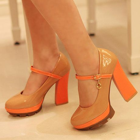 Patent Leather Orange Chunky Heel Mary Jean Pumps | Heels & Wedges ...
