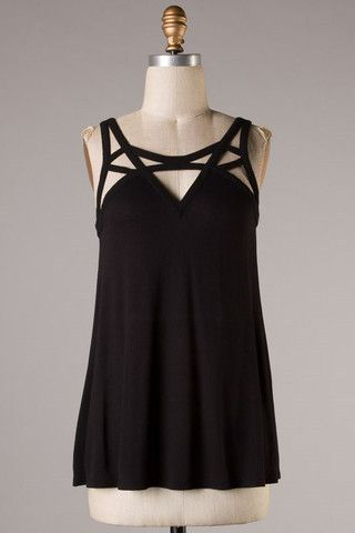 V Cut Out Top in Black – Urban Dollhouse Boutique