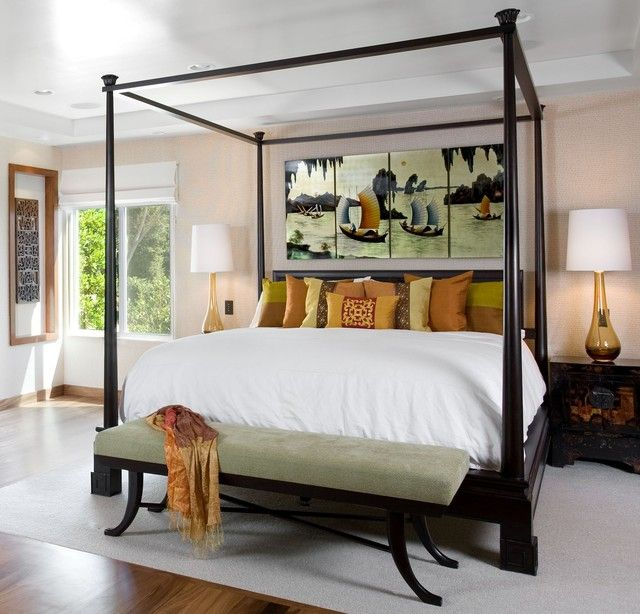 : Hella Asian Bedroom Ideas With Colorful Pillwos Under Piant Wall Decor That Bench Feat Curtain And Fur Rug Also