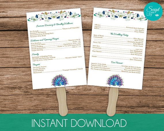 Pea Paddle Fan Wedding Program Template Double Sided Instant Edit Text