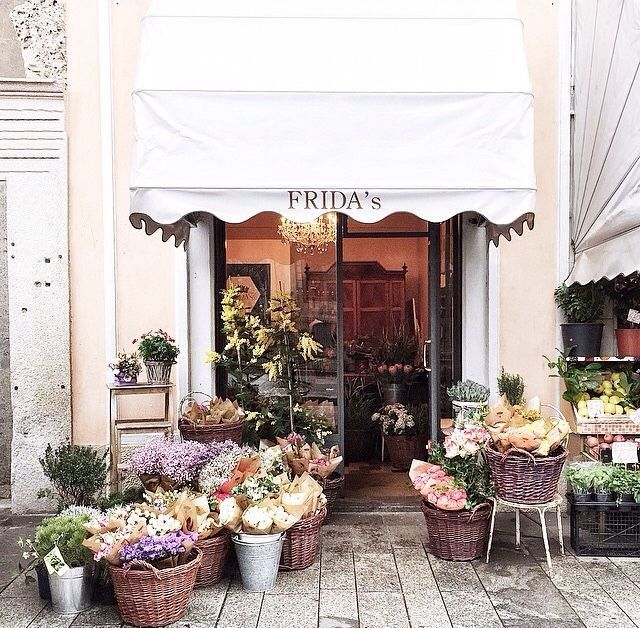 Flowers On Display + Entrance To Fridau0027s, A Flower Shop In Milan