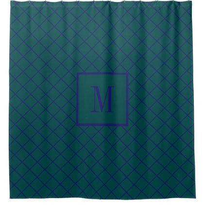 Monogrammed Teal and Midnight Blue Shower Curtain - monogram gifts unique design style monogrammed diy cyo customize
