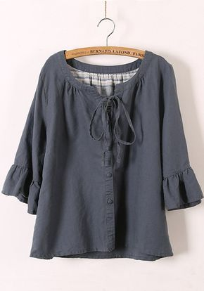 Grey Drawstring V-neck Bat Sleeve Linen Blend Blouse