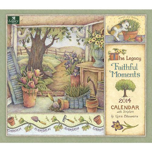 Faithful Moments Wall Calendar: This 2014 Legacy Wall Calendar features the gentle country artwork of artist Lisa Blowers paired with inspiring Scripture verses. This 12-month calendar is printed on high-quality, linen-embossed paper that has a distinctive, luxurious feel to it, and comes in a protective envelope. http://www.calendars.com/Best-Sellers/Faithful-Moments-2014-Wall-Calendar/prod201400005273/?categoryId=cat30904=cat30904