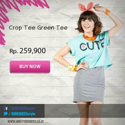 Looking cute with Crop Tee Green Tee. Yuk shopping online di: www.ninetydegrees.co.id