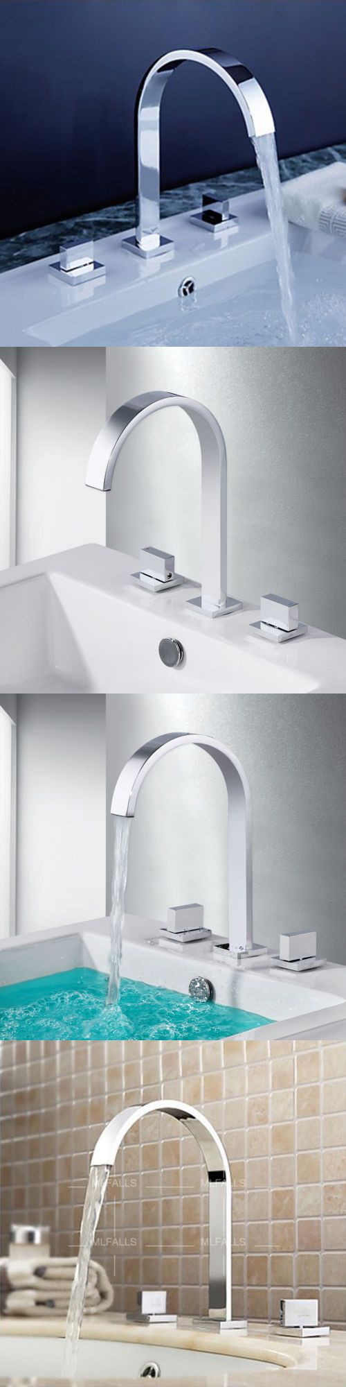 Bathroom sink faucet one hole double handle basin mixer tap ebay - Faucets 42024 Bathroom Waterfall Faucet Basin Sink Curved Dual Handle Chrome Brass Mixer Tap