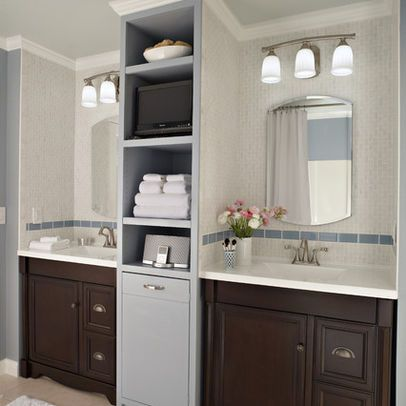 two separate sinks and vanities bathroom into a soothing bathroom for two separate vanities. Black Bedroom Furniture Sets. Home Design Ideas