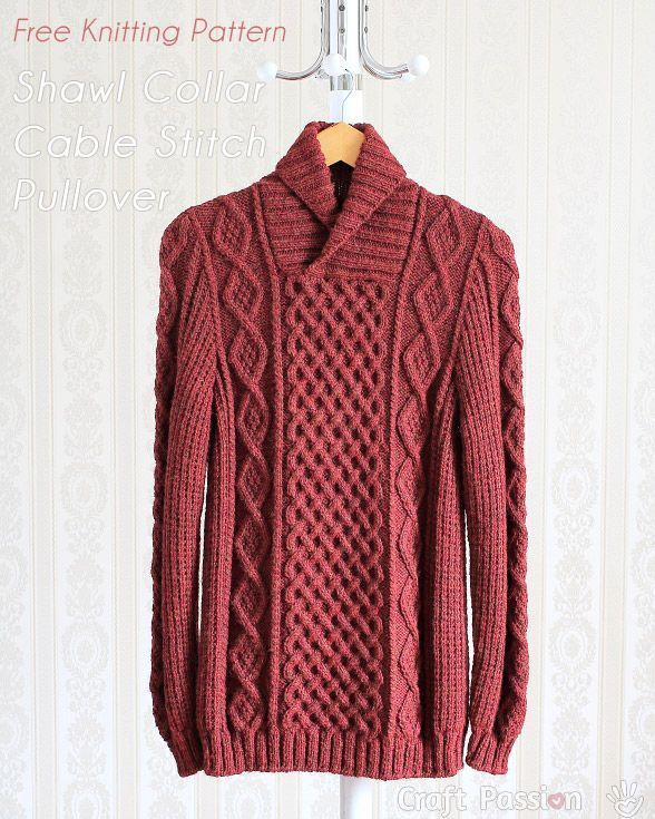 Get free knitting pattern of stylish & luxury Shawl Collar Cable Pullover. Sizes: 32, 36, 40, 44, 48 and 52 inch chest measurements, suit both men & women. - Page 2 of 2