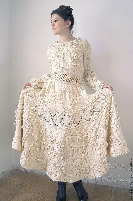 """Платье вязаное """"Шишки и араны"""" - белый,однотонный,вязаное платье,белое платье"""
