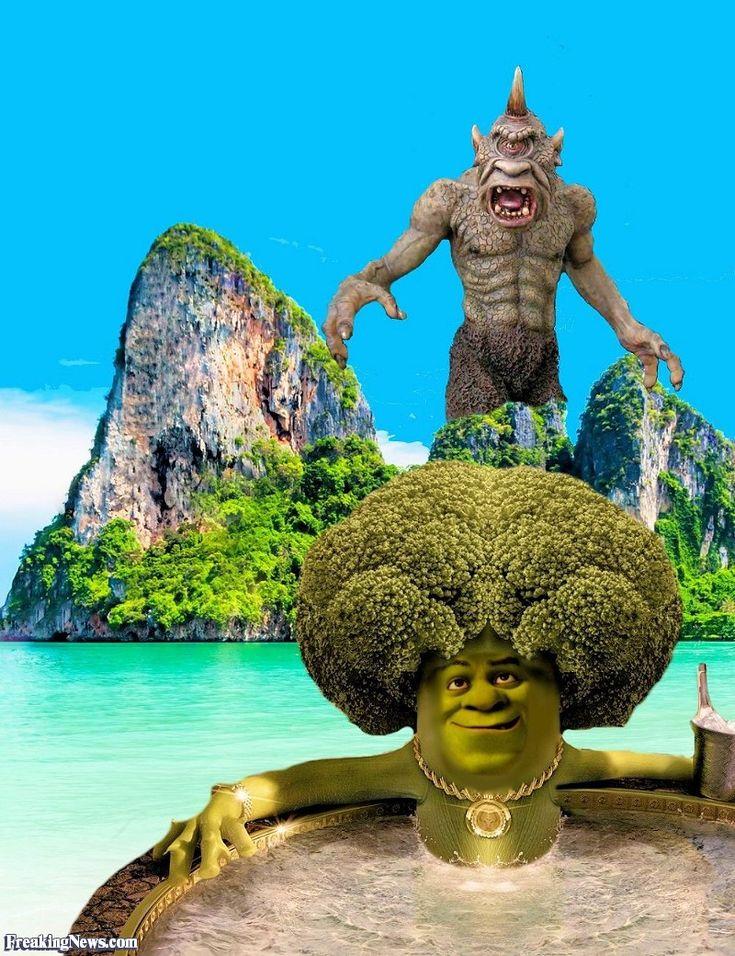 Shrek as Broccoli in a Hot Tub