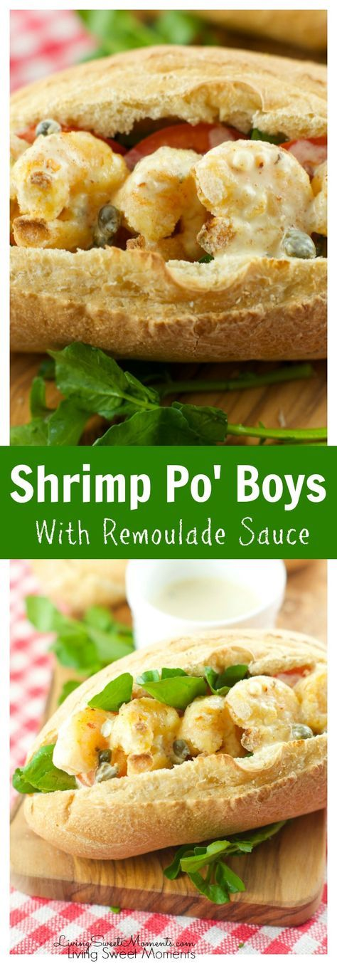 Shrimp Po'boys - served with a delicious creole Remoulade sauce. Shrimp is battered in cornmeal and oven fried to perfection. Perfect for parties or dinner More shrimp recipes at livingsweetmoments.com via @Livingsmoments