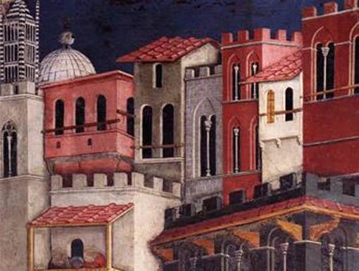 Particolare di opere: Ambrogio Lorenzetti: Allegoria del buon governo in città, Sala dei Nove, Palazzo Pubblico di Siena. 1338-40, affresco. Il campanile e la cupola che si vedono in alto a sinistra sono quelle dell'attuale cattedrale di Siena e le architetture, anche se affastellate, rispecchiano nei colori e nelle forme quelle dell'epoca nella città toscana: bellissime le bifore e la prospettiva non proprio reale.