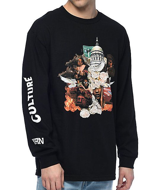 "Represent Migos' newest brand Yung Rich Nation and show your love for modern hip-hop with the Culture Album Black Long Sleeve T-Shirt. Featured with their album artwork on the chest and the text ""Culture"" and ""YRN"" on the right sleeve. A fairly simple shi"