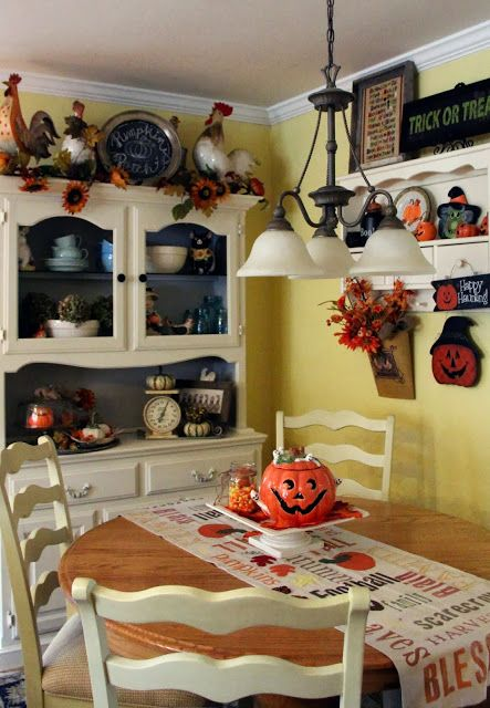 priscillas halloween in the kitchen our updated hutch - Halloween Kitchen Decor