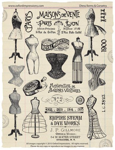 Dress Forms and Corsetry Rubber Stamp by oxfordimpressions on Etsy, $24.00