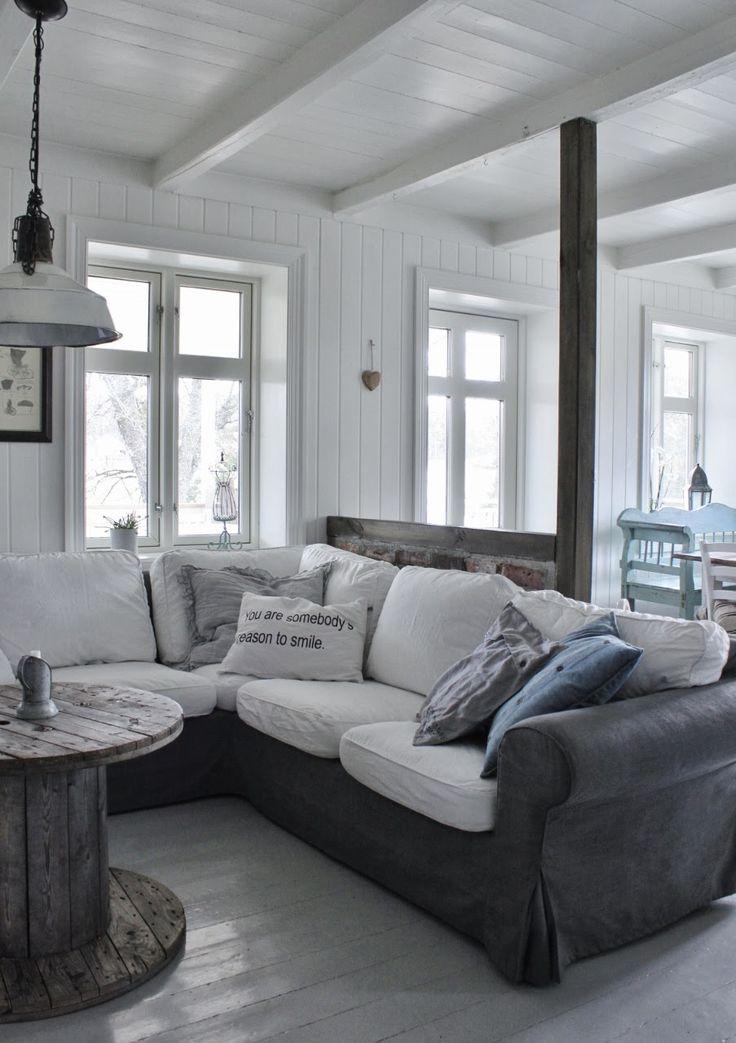 Betrække hynder i sofa med ny farve og ikke resten...