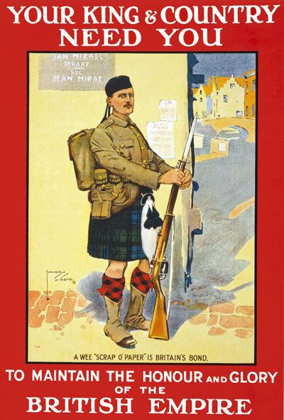 Scottish King Country Needs You War Poster WW1