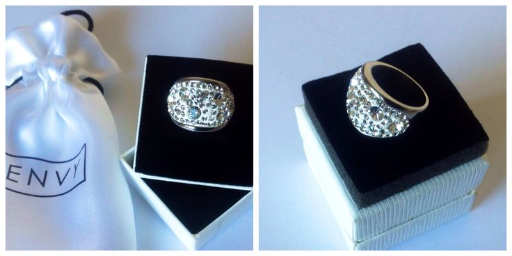Razzle Dazzle Ring stunning stainless steel ring featuring 75 Swarovski crystals. www.envyjewellery.com.au