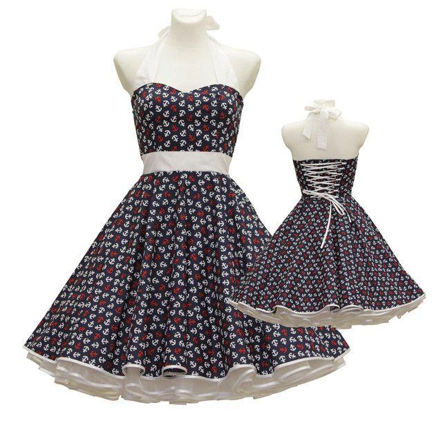 - massgeschneidert nach Ihren Maßen - Das Kleid wird aus einer Baumwollpopeline gefertigt, die mit Ankern bedruckt ist - unterhalb der Brust eine Verzierung mit einem Band und einer kleinen...