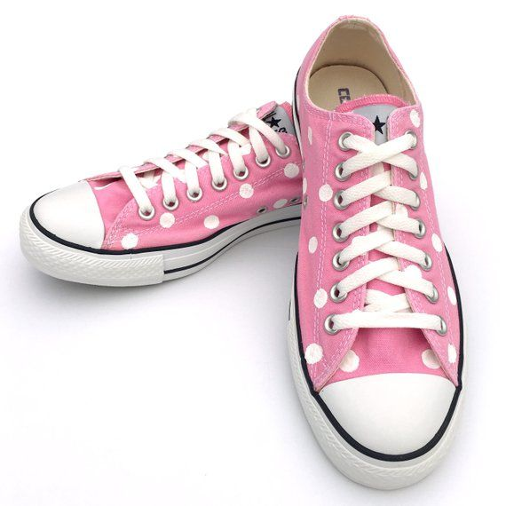 c5d81bfaa8bb PINK Converse with Hand Painted White Polka Dots - Women s Size 10.5 - Men s  Size 8.5