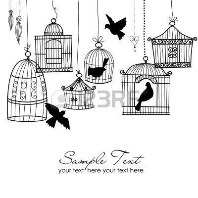 Gabbie per uccelli d'epoca. Uccelli dalle loro gabbie concetto di vettore Archivio Fotografico