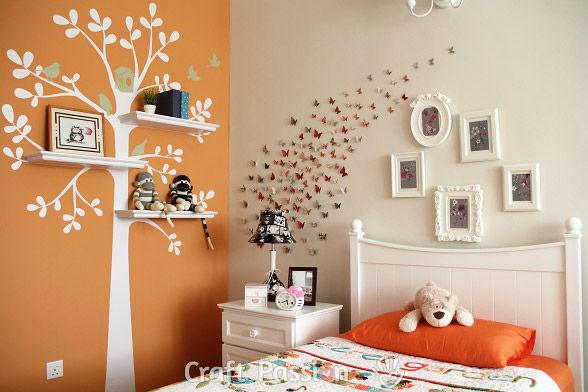 how to decorate a pre-teen girl's bedroom-with tree decal and dimensional paper butterflies