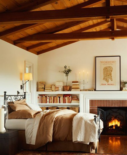 Wood beam ceilings and a fireplace are a MUST in my future bedroom.