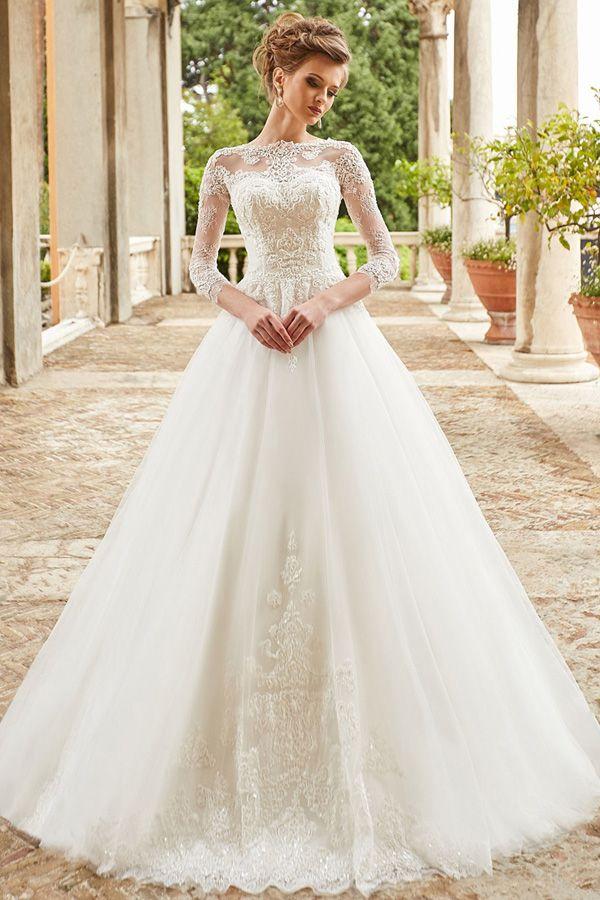 Modest Tulle Bateau Neckline A Line Wedding Dress With Beadings