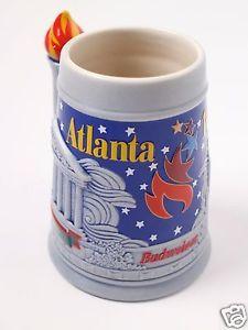 Budweiser-Atlanta-Bierkrug-Selten-OLYMPISCHE-SPIELE-1996-Bier-Sammeln-Dachboden