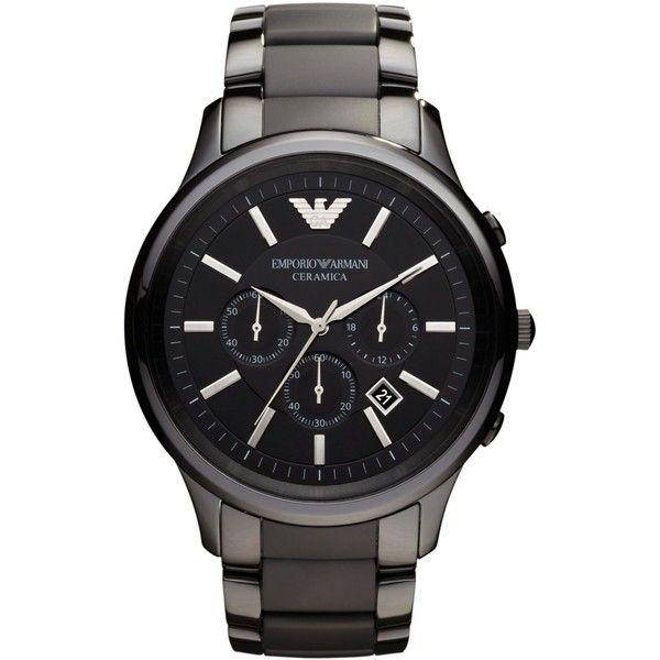 Emporio Armani Men's Chronograph Black Ceramic Bracelet Watch 47mm... (16,390 THB) ❤ liked on Polyvore featuring men's fashion, men's jewelry, men's watches, no color, mens chronograph watch, mens bracelet watch, mens ceramic watches, mens chronograph watches and mens watch bracelet