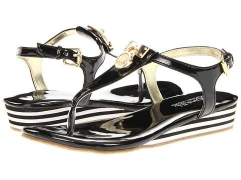 Free Shipping Both Ways! Perfect for when the weather heats up, these MICHAEL Michael Kors® sandals are ready for a summer of adventure. Shiny synthetic upper with branded hardware... More Details