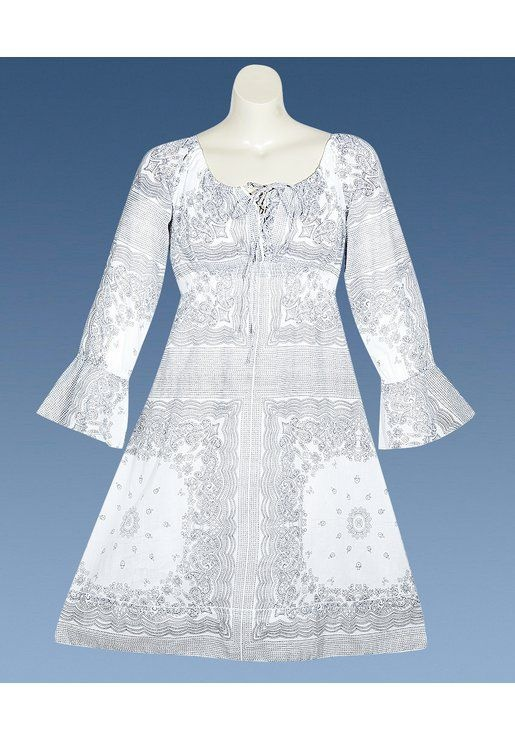 Plus size white bandana print dress image may be a good for Wedding vow renewal dresses plus size