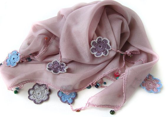 Powder pink scarf made by bead and lace handiwork by SEVILSBAZAAR