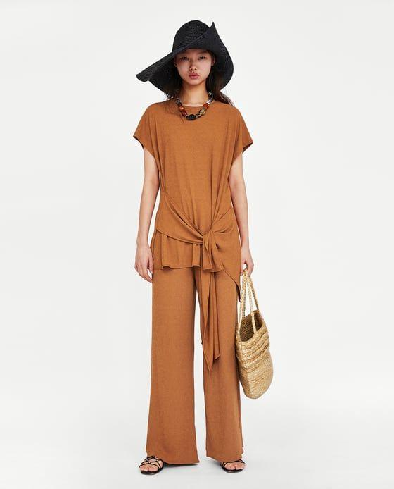 bd1aabff82 CAMISETA TEXTURA NUDO | Zara | Wide leg pants, Nice dresses, Zara women