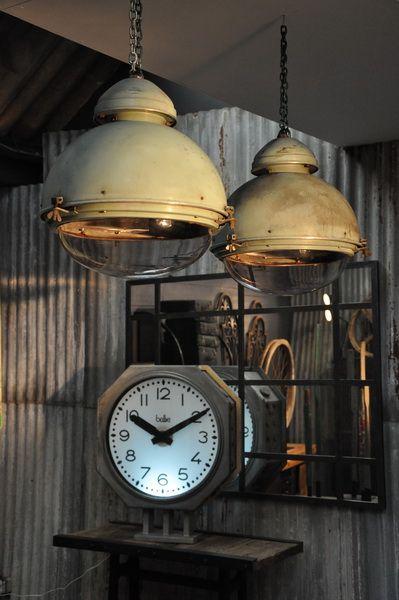 huge pair of industrial lanterns  c.1950
