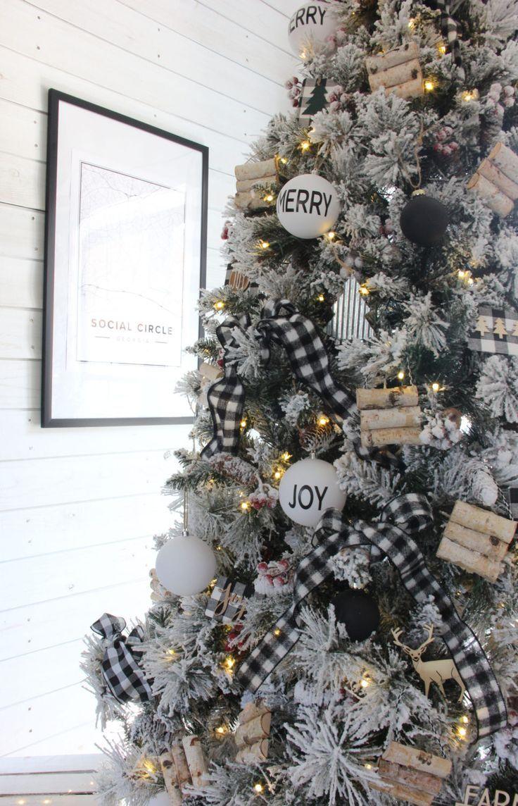 A Cozy Snow Flocked Farmhouse Christmas Tree The Rustic Boxwood In 2020 Rustic Christmas Tree Christmas Tree Inspiration Black Christmas Trees