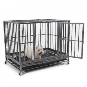 Heavy Duty Dog Crate Cage Kennel Pet Playpen with Tray, Silver