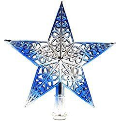 8 Inch Christmas Tree Topper 5 Point Star Xmas Decorative Ornament (8 Inch, Blue)