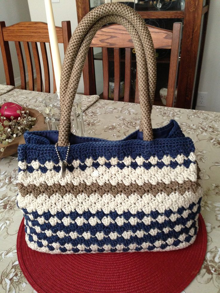 Now *this* is a decent shaped crochet. hand-bag. Minus that awful green stripe, of course, but this could make a nice inspirational bag. |The SAK Crochet Handbag