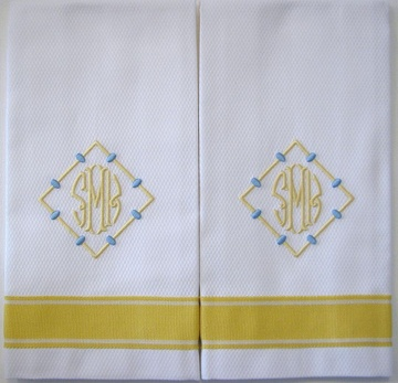 """This towel is fresh, sunny and all about summer!!  Trim comes in 5 beautiful colors.  Monograms look great on this one.  For a dressier look, use a linen towel.  Mix & match with Ric Rac.Shown here on white pique towel with """"Andrew"""" monogram in 2 colors. Monograms sold separately!"""
