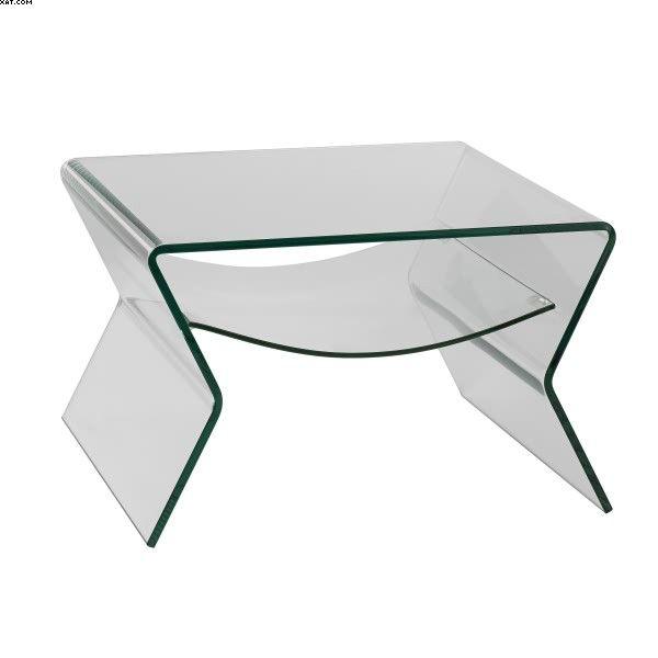 Bout de canapé en verre équipé d'un plateau transparent
