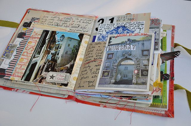 Enjoyed looking at the journal pages. The cover looks like it is fabric. Pinned this as a reminder of the fun look you can achieve using envelops and bits and pieces of scrapbook paper.