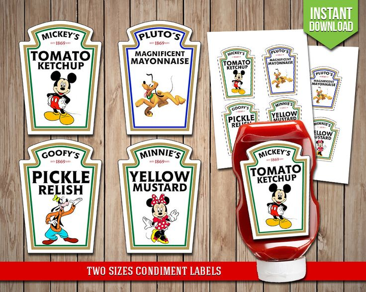 DISNEY CLUBHOUSE Condiment Labels - Mickey Mouse Condiments Disney Heinz Label Favors Table Decoration - Digital JPG Files, Instant Download by RedFoxParty on Etsy https://www.etsy.com/uk/listing/487123764/disney-clubhouse-condiment-labels-mickey