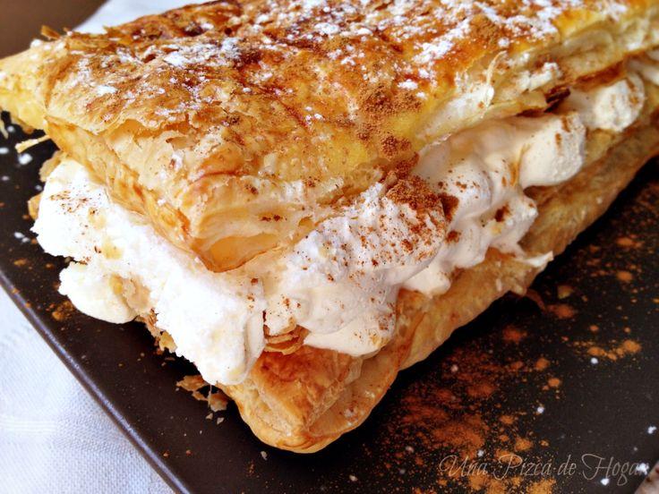 Una Pizca de Hogar: Milhojas fácil de hojaldre y nata con canela. Paso a Paso.