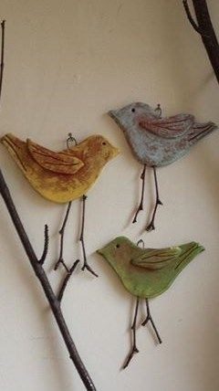 Salt dough birds w/twig legs