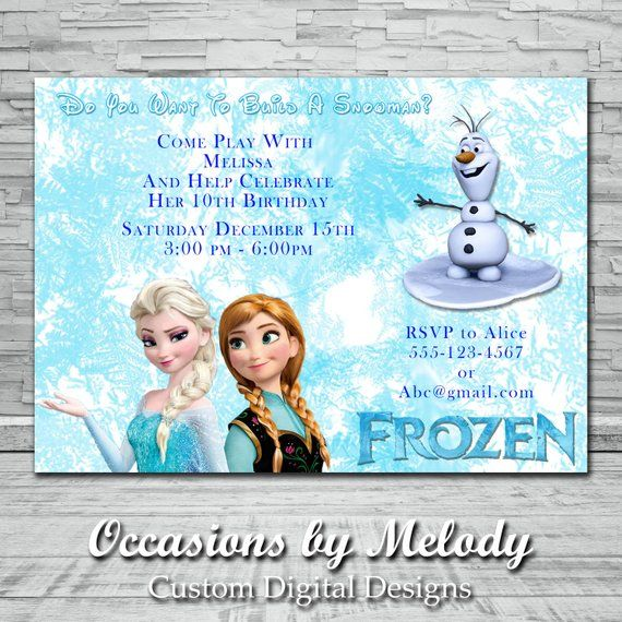 Frozen Themed Birthday Party Invitations Snowman Frozen Party