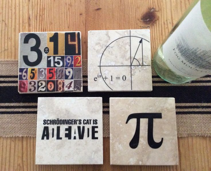 Geek Nerd Travertine Marble Coasters, Set of 4,  symbol for pi, pi, Euler's formula, and Schrodinger's Cat tiles, great gift by dreamweaverprints on Etsy